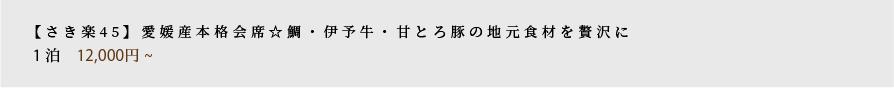 【さき楽45】愛媛産本格懐石☆鯛・伊予牛・甘とろ豚の地元食材を贅沢に